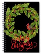 Holly Christmas Wreath And Cardinal Spiral Notebook