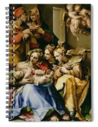 Holy Family With Saint Anne Catherine Of Alexandria And Mary Magdalene Spiral Notebook
