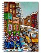 Home Town Painting St Viateur Bagel Street Scene Coca Cola Truck Montreal 375 Carole Spandau Art     Spiral Notebook