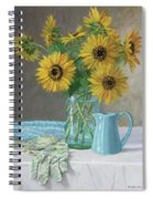 Homegrown - Sunflowers In A Mason Jar With Gardening Gloves And Blue Cream Pitcher Spiral Notebook