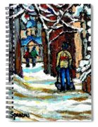 Buy Original Paintings Montreal Petits Formats A Vendre Scenes Man Shovelling Snow Winter Stairs Spiral Notebook