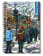 Promenade Au Centre Ville Rue Ste Catherine Montreal Winter Street Scene Small Paintings  For Sale Spiral Notebook