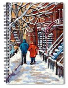 Promenade En Hiver Winter Walk Scenes D'hiver Montreal Street Scene In Winter Spiral Notebook