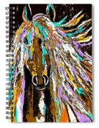 Horse Abstract Brown And Blue Spiral Notebook