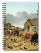 Horses Drinking From A Water Trough, With Pigs And Chickens In A Farmyard Spiral Notebook
