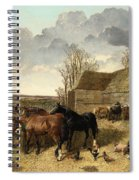 Horses Eating From A Manger, With Pigs And Chickens In A Farmyard Spiral Notebook