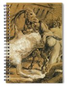 Horses Fighting In A Stable Spiral Notebook