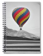 Hot Air Balloon And Longs Peak - Black White And Color Spiral Notebook