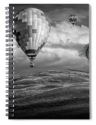 Hot Air Balloons In Black And White Over Fields Spiral Notebook