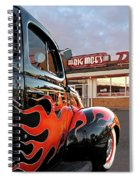 Hot Rod At The Diner At Sunset Spiral Notebook