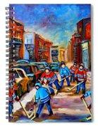 Hotel De Ville Montreal Hockey Street Scene Spiral Notebook