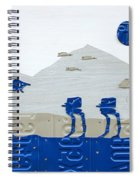 Hoth Star Wars Scene Panorama Made Using Vintage Recycled License Plates On White Wood Plank Spiral Notebook