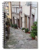 Houses Along Alley In The Old Town Of Porto Spiral Notebook