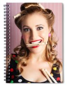 Housewife Doing Cleaning And Pin-up Laundry Chores Spiral Notebook