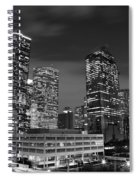 Houston By Night In Black And White Spiral Notebook