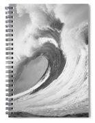 Huge Curling Wave - Bw Spiral Notebook