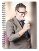 Humorous Businessman Licking Top Of Coffee Cup Spiral Notebook