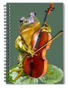 Humorous Scene Frog Playing Cello In Lily Pond Spiral Notebook