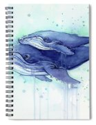 Humpback Whale Mom And Baby Watercolor Spiral Notebook