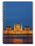 Hungarian Parliament Building At Night In Budapest Spiral Notebook