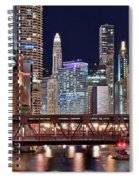 Hustle And Bustle Night Lights In Chicago Spiral Notebook
