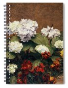 Hydrangeas And Wallflowers And Two Pots Of Pansies Spiral Notebook