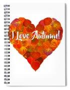 I Love Autumn Red Aspen Leaf Heart 1 Spiral Notebook