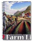 I Love Farm Life Shirt - Farmer Cultivating Peas - Rural Farm Landscape Spiral Notebook