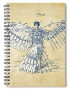 Icarus Human Flight Patent Artwork - Vintage Spiral Notebook