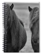 Icelandic Horses Duo Bw Spiral Notebook