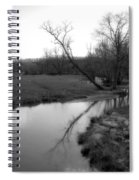 Idyllic Creek - Black And White Spiral Notebook