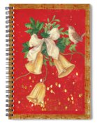 Illustrated Holly, Bells With Birdie Spiral Notebook