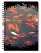 Imperial Koi Pond With Black Swirling Frame Spiral Notebook