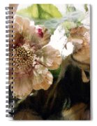 Impressionistic Green Peach Coral Floral Prints - Romantic Watercolor Peach Green Floral Decor Spiral Notebook