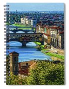 Impressions Of Florence - Long Blue Shadows On The Arno River Spiral Notebook