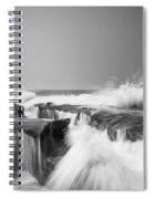 Incoming  La Jolla Rock Formations Black And White Spiral Notebook
