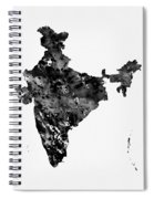 Map Of India-black Spiral Notebook