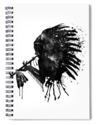 Indian With Headdress Black And White Silhouette Spiral Notebook