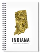 Indiana Map Art Abstract In Gold Yellow Spiral Notebook