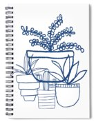 Indigo Potted Succulents- Art By Linda Woods Spiral Notebook