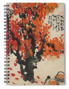 Ink Painting A Tree Gules Persimmon Girl Spiral Notebook