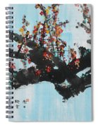 Ink Painting Plum Blossom Blue Spiral Notebook