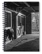 Inside The Horse Barn Black And White Spiral Notebook