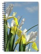 Irises In Blue Sky Art Print Spring Iris Flowers Baslee Troutman Spiral Notebook