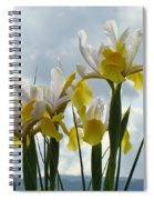 Irises Yellow White Iris Flowers Storm Clouds Sky Art Prints Baslee Troutman Spiral Notebook