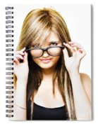 Isolated Sexy Girl Wearing Glasses On White Spiral Notebook