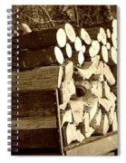 It Warms You Twice Sepia Spiral Notebook