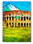 Italian Aerobatics Team Over The Colosseum Spiral Notebook