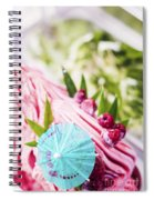Italian Gelato Raspberry Ice Cream With Blue Umbrella Spiral Notebook