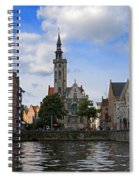 Jan Van Eyck Square With The Poortersloge From The Canal In Bruges Spiral Notebook